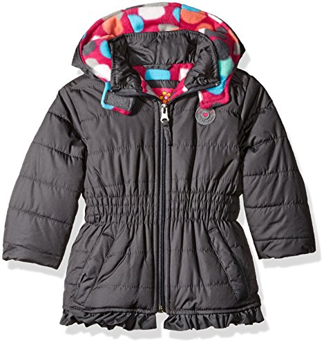 Charc Charcoal (Pink Platinum Baby Girls' Infant Puffer Jacket With Big Dots Print Lining, Charcoal, 24 Months)