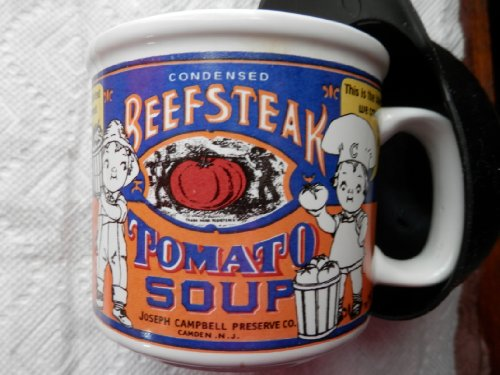 Campbell's Soup Condensed Soup Label Mug, 1999 Houston Harvest Condensed Beefsteak Tomato Soup Mug