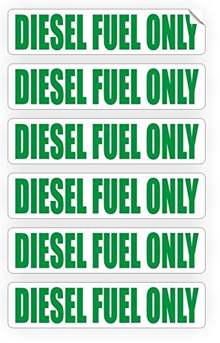 6-Pcs Sublime Popular Diesel Fuel Only Car Stickers Signs Gasoline Emblem Truck Safety Motor Unleaded Size 3/4' x 3-1/4' Color White with Green
