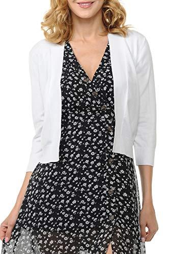 Urban Look Women's Basic 3/4 Sleeve Open Front Light Weight Sweater Cardigan (S-XL) (Medium, White)