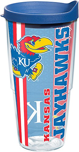 Tervis 1220733 Kansas Jayhawks College Pride Tumbler with Wrap and Blue Lid 24oz, Clear