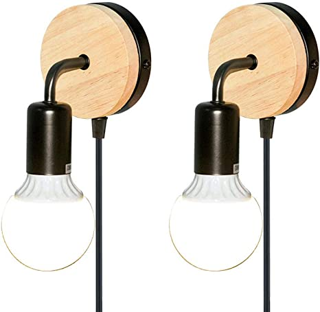 Amazon Com Js Hardware Plug In Wall Sconce Minimalist Style Wall Light Fixtures With Cord And Switch Dimmable Wall Wood Lamp Home Decor For Bedroom Living Room Kids Room E26 E27 Base 2 Pack Black