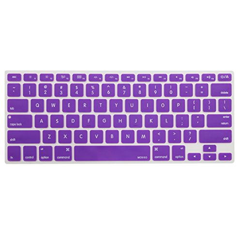 MOSISO Keyboard Cover Silicone Skin Compatible MacBook Pro 13 Inch, 15 Inch (with or without Retina Display, 2015 or Older Version) MacBook Air 13 Inch, Purple