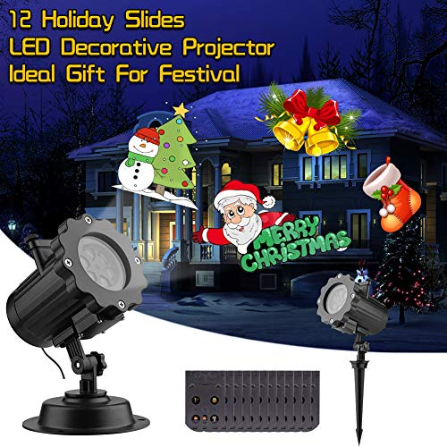 Halloween Christmas Projector Lights, LED Landscape Lighting with 12 Replaceable Theme Slides for Christmas Halloween Birthday Wedding Party Outdoor Indoor Home Garden Holiday Decor, Waterproof -