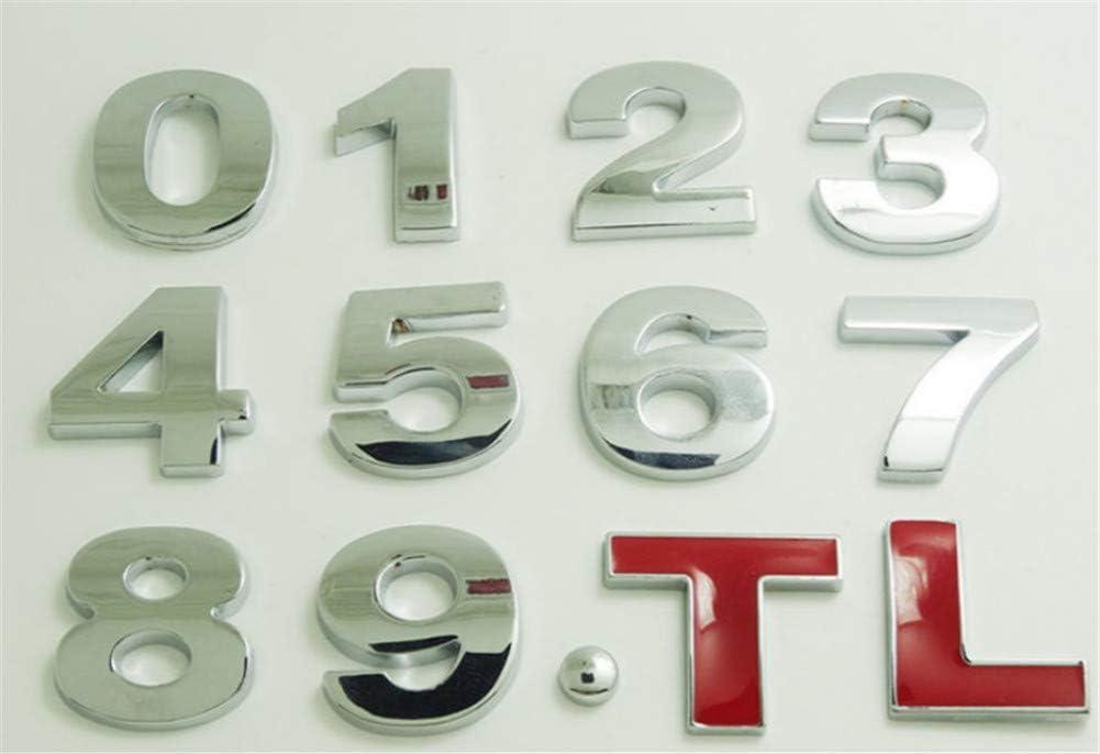 n/úmeros y s/ímbolos insignia 2,5 cm de metal adhesivos hazlo t/ú mismo 3D Fully para pegar Letras del alfabeto ideal para coche