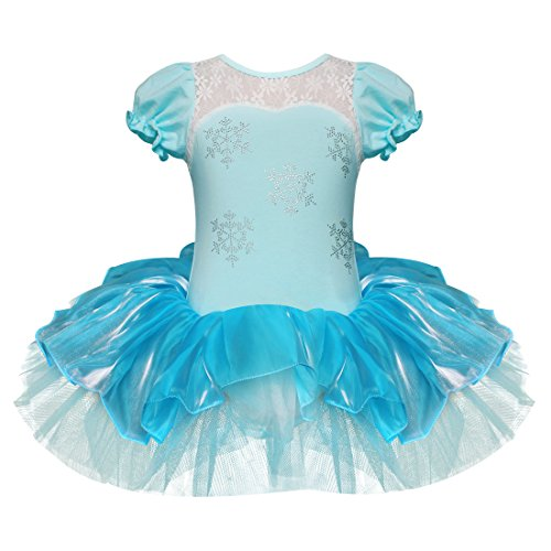 iEFiEL Girls Elegant Snowflake Princess School Ballet Dance Wear Party Dress Halloween Costumes (Snowflake Tutu, 3-4) Light Blue -