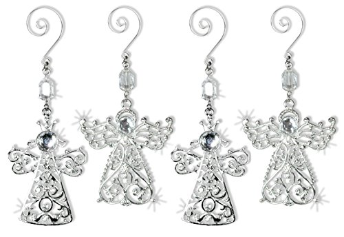 Angel Ornaments - Set of 4 Crystal and Metal Angel Ornaments - Christmas Ornament Sparkling Crystals and Filigree - Comes in a Gift Box - Holiday Decorations Christmas Tree Ornaments ()