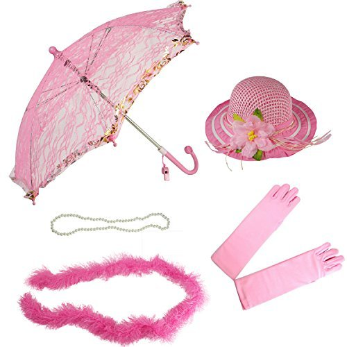 (Girls Tea Party Hat Dress Up Set Hat Gloves Parasol Boa Necklace Natalie)