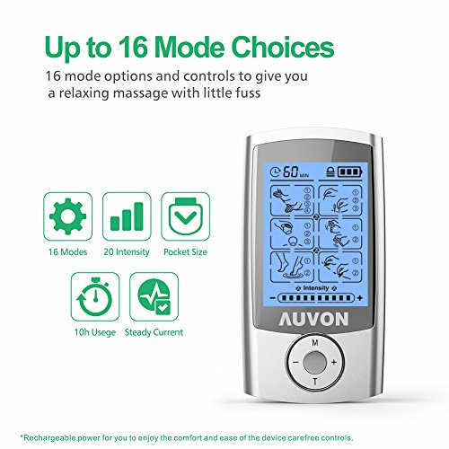 AUVON Rechargeable TENS Unit Muscle Stimulator, 2nd Gen16 Modes TENS Machine with Upgraded Self-Adhesive Reusable TENS Electrodes Pads (2''x2'' 12pcs, 2''x4'' 2pcs) by AUVON (Image #3)