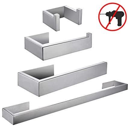 Self Accessori Bagno.Aothpher Sus 304 Stainless Steel Contemporary 3m Self Adhesive 4 Piece Bathroom Accessories Set Coat Hook Towel Bar Toilet Paper Holder Tower