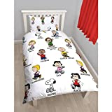 Peanuts Childrens/Kids Snoopy Reversible Single Duvet Cover Bedding Set (Twin) (White)