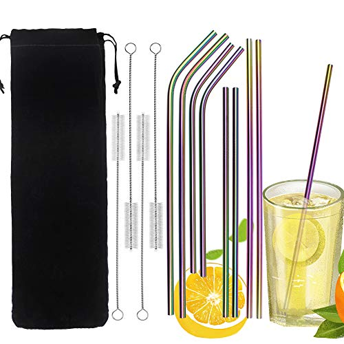 """10.4/"""" Reusable Stainless Steel Straws Curved Drinking Straw 4 Pcs with Brush"""