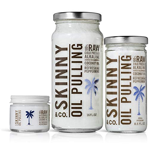 SKINNY and CO. 100% Raw Oil Pulling Peppermint Coconut Oil for Healthier Teeth and Gums (16 Oz) by SKINNY and CO. (Image #3)