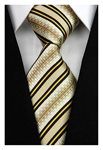 Veegood Men's Classic Jacquard Woven Silk Tie Plaid Brown Striped Necktie for Men Party Suit Z07 (Necktie Striped Brown)