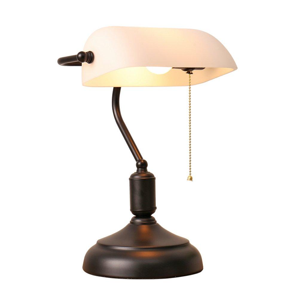 XIANGYU Nordic Traditional Style Banker Schreibtischlampe, Retro Nostalgie weiß Glasschirm Tischlampe Wohnzimmer Schlafzimmer Nachttischlampe Studie lesen Augenschutz Schreibtischlampe