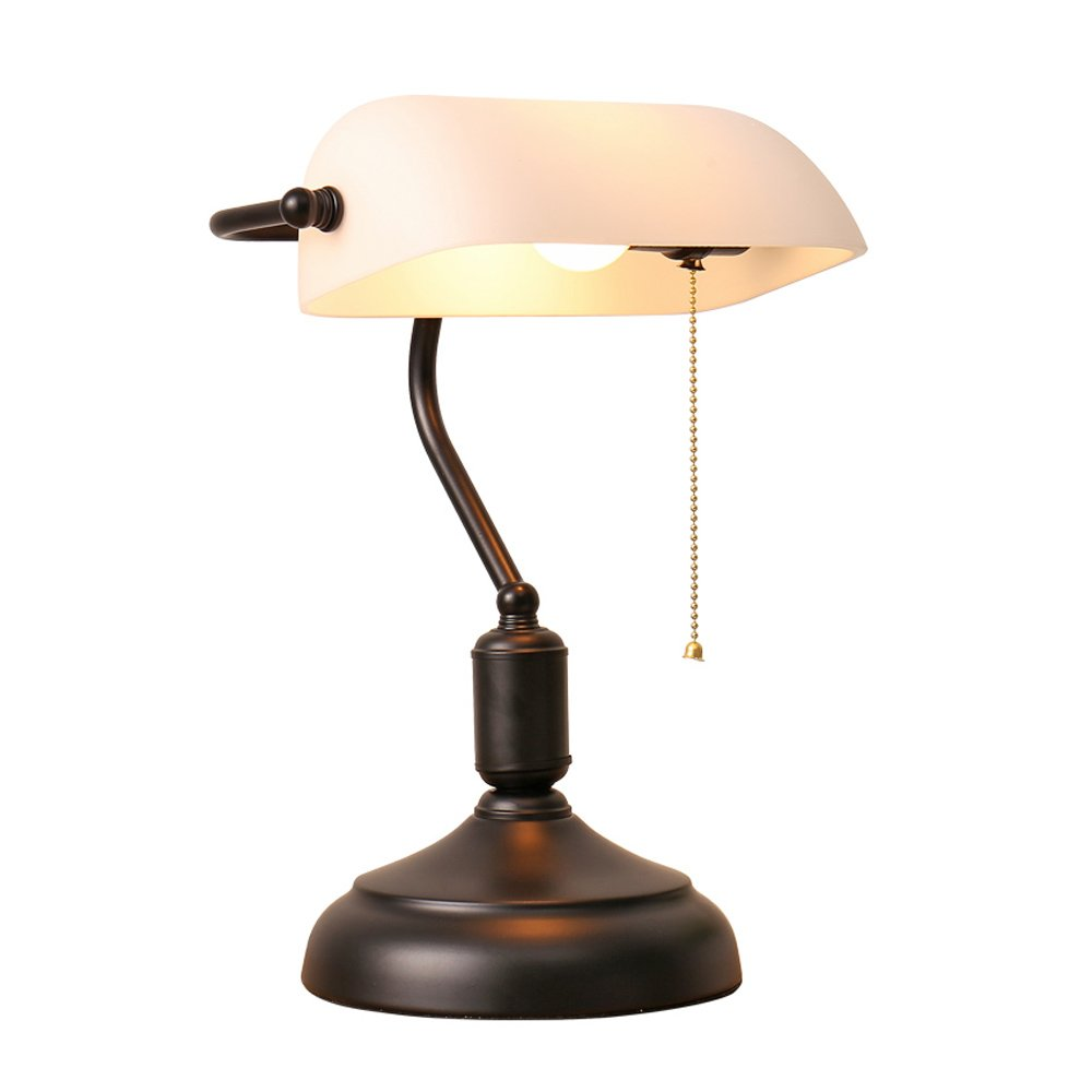 Xiangyu Nordic Traditional Style Banker's desk lamp,Retro Nostalgia white Glass shade table lamp living room bedroom bedside lamp Study reading Eye protection desk lamp