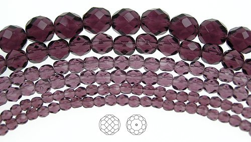 4mm (102) Amethyst, Czech Fire Polished Round Faceted Glass Beads, 16 inch strand