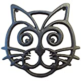 country kitchen table ideas Cat Trivet - Black Cast Iron - for Kitchen & Dining Table - More Than One Makes a Set for Counter, Wall Art or Decoration Accessory - Housewarming & Cat Lover Gifts - 6.6 by 6.3 in