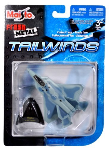 Maisto Fresh Metal Tailwinds 1:152 Scale Die Cast United States Military Aircraft : U.S. Air Force Fighter Air Craft with Stealth Technology : F-22 Raptor Plus Display Stand (Dimension: 3-1/2