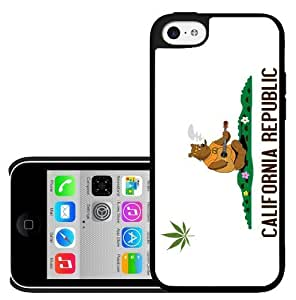 MMZ DIY PHONE CASECalifornia State Flag Weed Cannabis Hard Snap on Cell Phone Case Cover iPhone (5c)