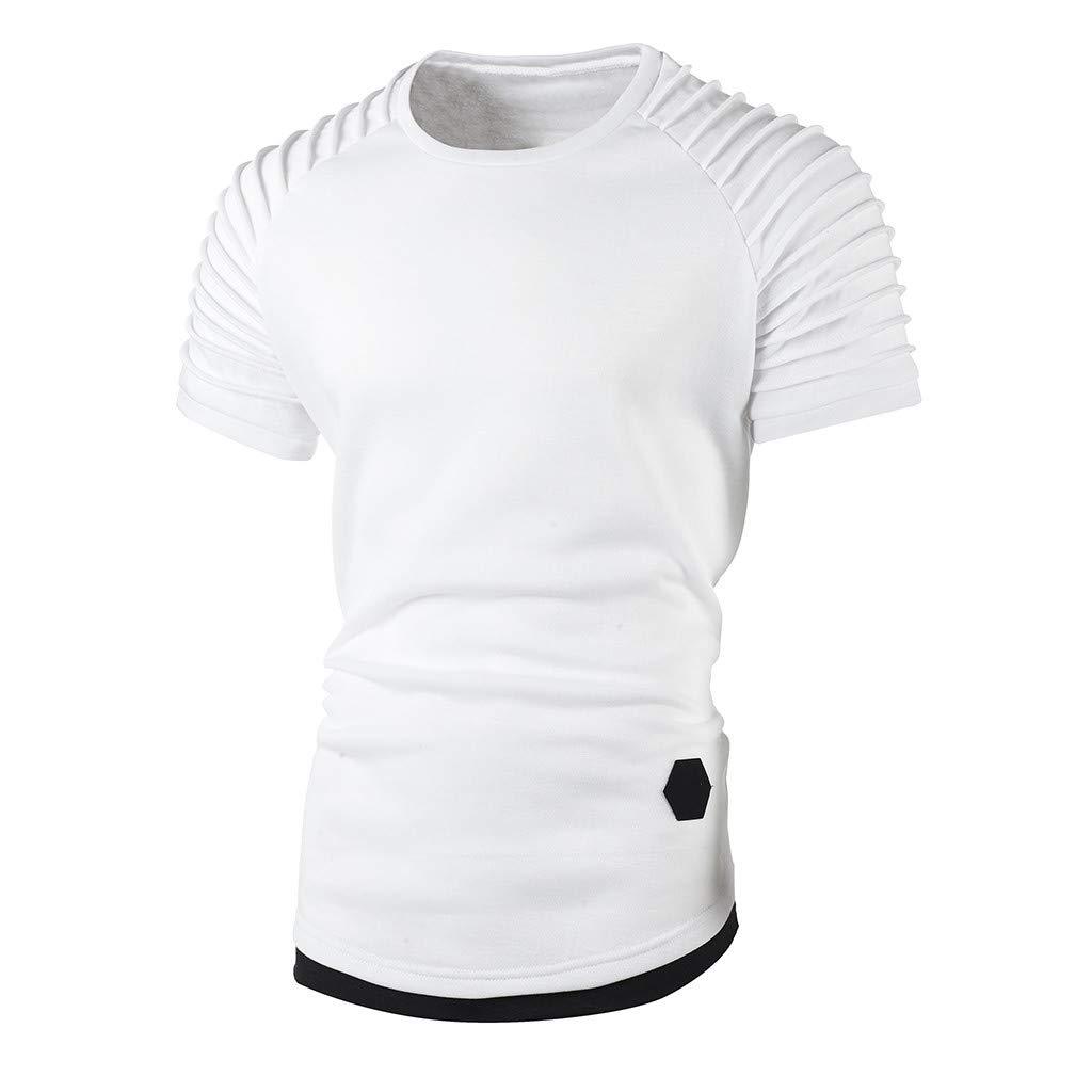 FeiBeauty Herren Sommer Volltonfarbe Kurze /Ärmel Hoodie Falten Sweatshirt T-Shirt Slim Fit Top Geeignet f/ür den Sport