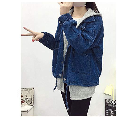 de couture Zlululu femme vestes avec lavé vêtements bonnet femmes parka automnale pour dessus veste jeans mince manteaux xXqwXAHT