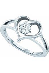 10K White Gold Round Diamond Flower Heart Promise Ring