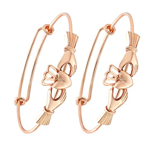- SENFAI The Claddagh Adjustable Female Bracelet Bangle for Women Girls 6.5 in (rose gold 2 pcs set)