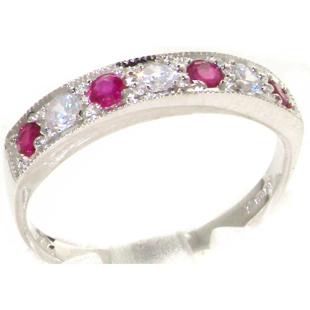 925 Sterling Silver Natural Diamond and Ruby Womens Band Ring (0.18 cttw, H-I Color, I2-I3 Clarity)