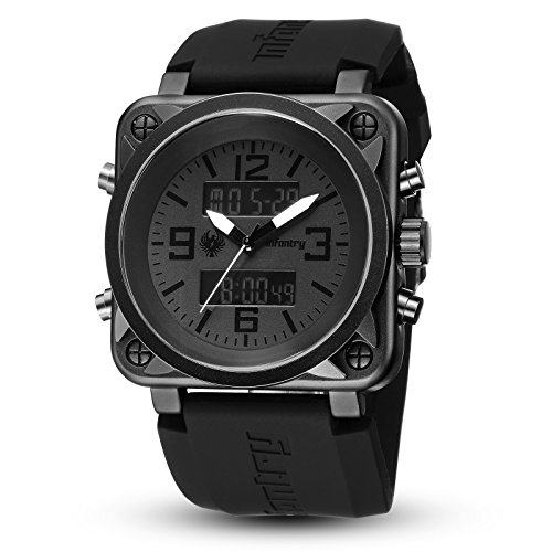 INFANTRY Mens Big Face Tactical Military Sport Watch Analog Digital Wrist Watches for Men Black Heavy Duty Rubber Band Black Rubber Wrist Watch