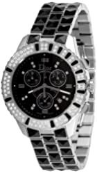 Christian Dior Unisex CD11431CM001 Christal Chronograph Diamond Black Dial Watch