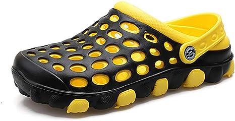 JUANN Sandalias con orificios para hombre Zapatillas casuales Zapatos de zueco de jardín para caminar al aire libre Cubierto,Yellow,40: Amazon.es: Ropa y accesorios