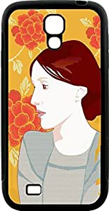 Samsung Galaxy S4 i9500 Cases Customized Gifts Cover Profile of brunette woman with orange floral background Design