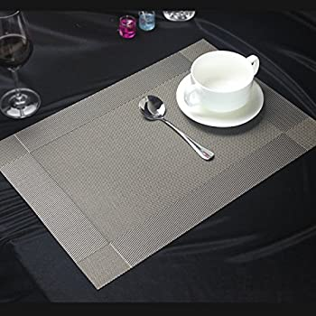 Woven Placemats, Glotao PVC Vinyl Washable Heat Resistant Placemats Durable Non Slip Dinning Room Table Mats Easy to Clean,Set of 4 (Grey-Silver)