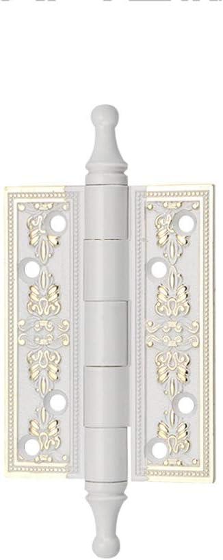 KQHSM German Hinge European Crown Head 4 Inch Solid Wood Door Hinge White Mute Hinge Bearing Single Piece Color : C, Size : 2pcs