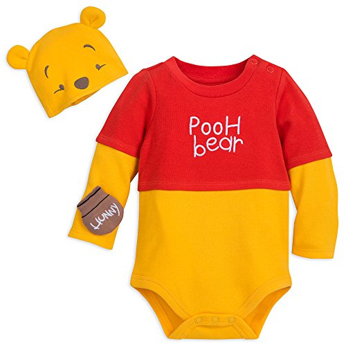 Disney Winnie The Pooh Costume Bodysuit with Hat for Baby Size 3-6 MO Multi -