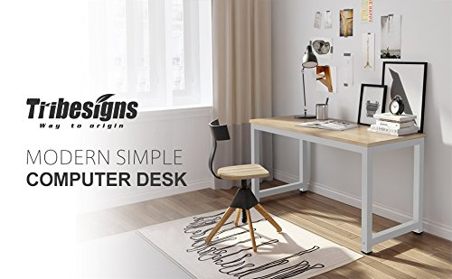 "Computer Desk, 55"" Large Office Desk Computer Table Study Writing Desk for Home Office, Walnut + White Leg Photo #6"