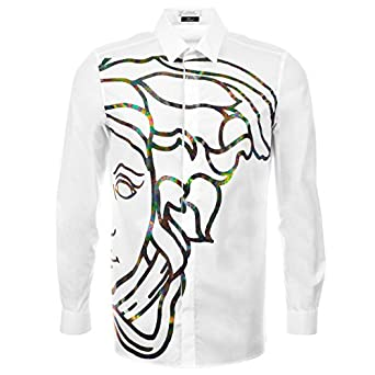 a93931177b6f hommes blanc Versace Collection Medusa Chemise blanc - 15 quot  Collier