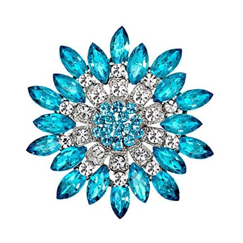 Polytree Women Flower Crystal Rhinestone Brooch Pins Wedding Bridal Gift (Lake - Pin Jewelry Costume