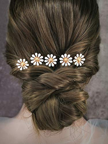 Aegenacess Gold Hair Pins Set for Wedding Clips White Daisy Flower Bun Pick Romantic Bohemian Accessories Brides and Bridesmaids Gift - 5 Pieces
