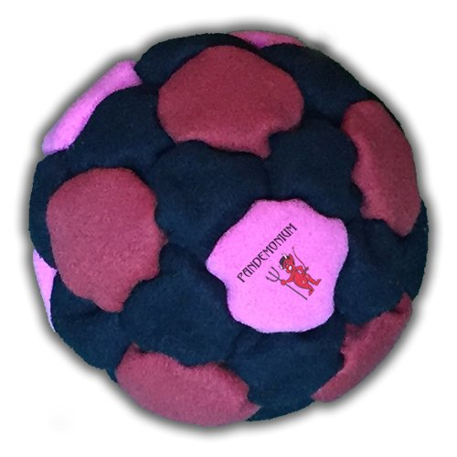Pandemonium Footbag Blood lust Footbag 32 Panels Hacky Black Red Pink Edition Sack Pro Bag Sand & Iron Weighted At 2.1 Onces