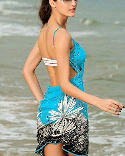 Scollo Mini Maniche Senza Da Beach Estivo Hellomiko Con Sexy Donna Maxi Abito Lago Blu A Tagliati V Floreali Stampe Party Sundresses 7wxZOq48Fx