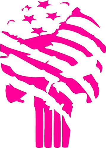 All About Families Punisher Skull American Flag ~ Pink ~ Die Cut 3M Vinyl Decal Sticker/Tool Box/Phone/CAR/Truck/Decal Sticker with Alcohol PAD ~ 5