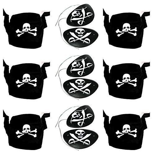 Child/Youth Pirate Head Scarf Style Hats & Skull/Crossed Swords Design Eye Patches - 12 + 12 Pack]()