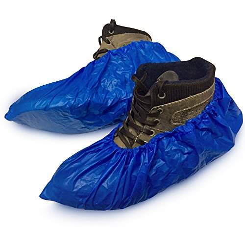 XL Water Proof Boot Shoe Covers - Fits Shoes and Boots Sizes 5-13 - Indoor/Outdoor Water Resistant Reusable Disposable Medical Booties - 100 Per Pack (50 ()
