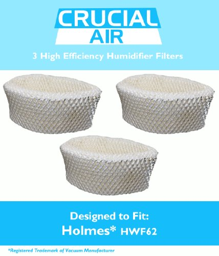 3 Holmes HWF62 Humidifier Filters, Part # HWF62, Designed & Engineered by Crucial Air