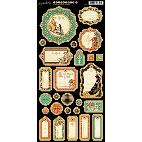 Graphic 45 Enchanted Forest Chipboard Die-Cuts 6-inch x 12-inch Sheet-Journaling, 4501351