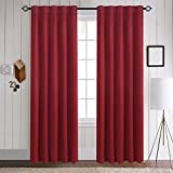 Aquazolax Thermal Insulated Solid Blackout Curtains Panels - Back Tab/Rod Pocket for French Door, 2 Panels Set, 52'' W x 84'' L, Burgundy Red