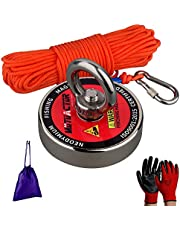MUTUACTOR Fishing Magnet Metal Recovery 400lbs Neodymium Magnet N52 with 66 Feet(20m) Durable Rope and Waterproof Gloves, Powerful Strong Magnetic of Retrieving Treasure in Rivers