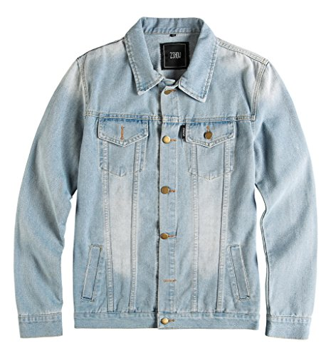 ZSHOW Men's Casual Denim Jacket Slim Jeans Jacket(Light Blue,US S)